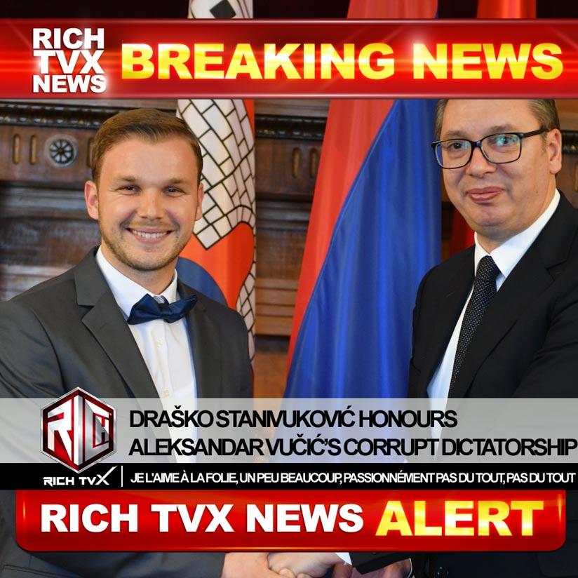Draško Stanivuković Honours Aleksandar Vučić's Corrupt Dictatorship